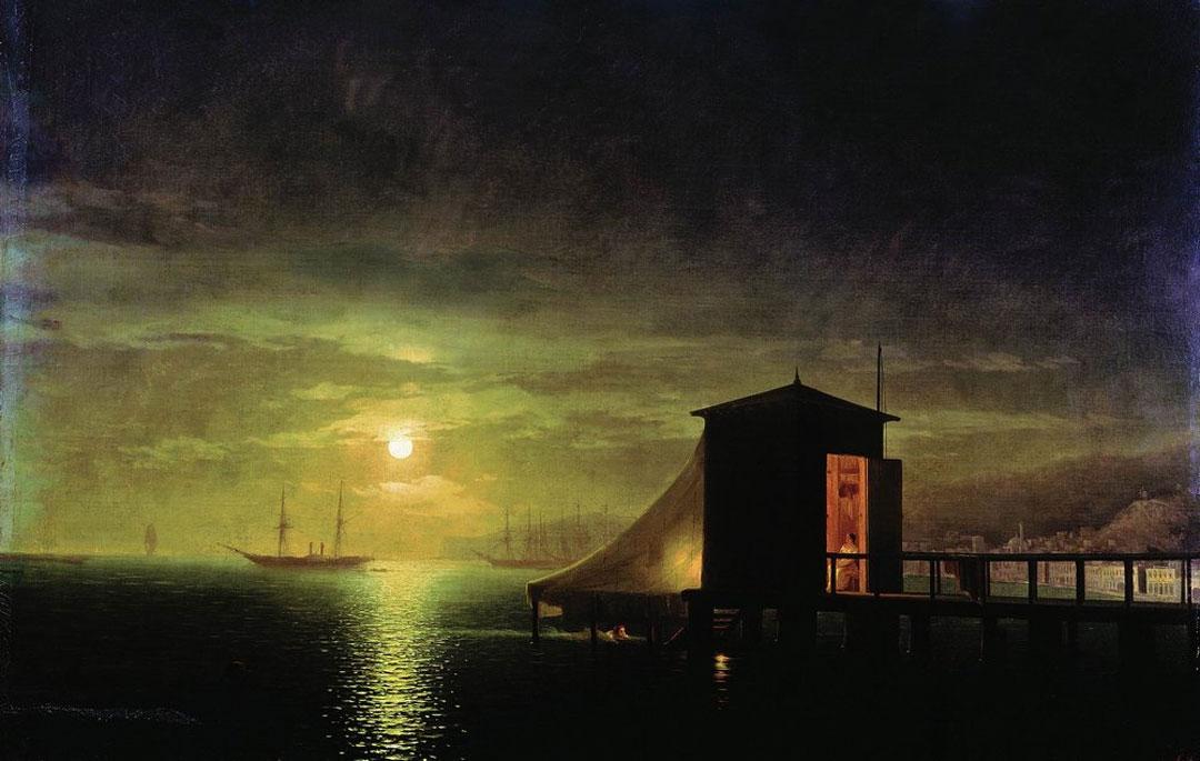 Moonlit Night. A Bathing Hut in Feodosia