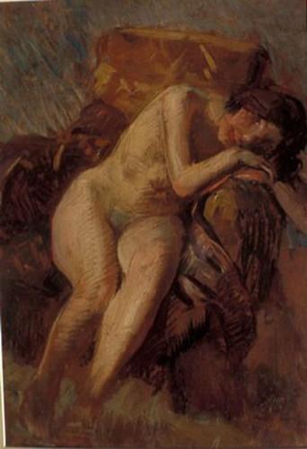 Sandalyede Oturan Çıplak Kadın